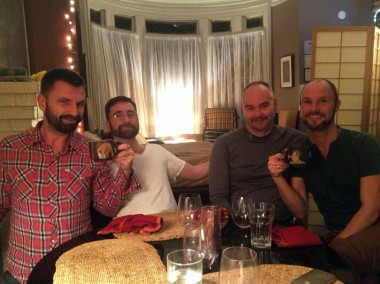 Andy at dinner with world-class sex educators: Kai Ehrhardt, Dave Allen, and Volker Moritz