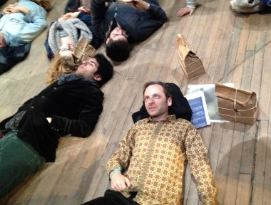 A popular activity is to lie on the floor looking up at the curtain with the murmuring radio/bag nearby. This is my friend David Haiman -- he's the one who suggested we check out the show between dress rehearsal and our gamelan concert at the Indonesian Consulate on E. 68th Street.