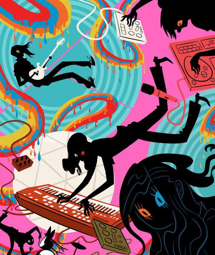 illo of experimental pop band Black Moth Super Rainbow by Daniel Krall