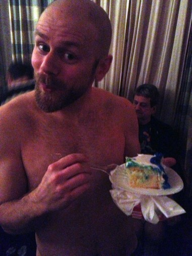 speaking of two lips, Croft nibbles the DJ's birthday cake at Big Apple Ranch
