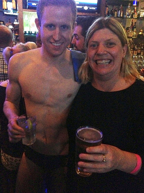 Team New York Aquatics benefit at Boxers in Hell's Kitchen -- here's Timothy Nolen with Elizabeth Turnbull-Brown