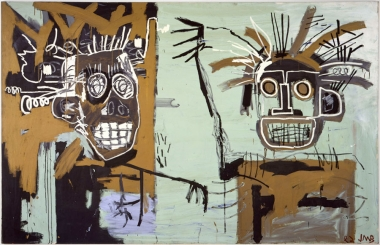 basquiat untitled two heads on gold 1982