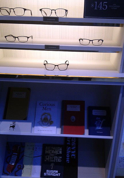 Andy shopped for glasses at Warby Parker, the hip n groovy store that sells cheap frames and books