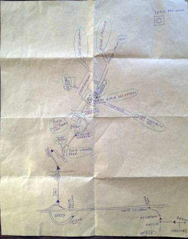 "Another day we took a road trip to Perugia -- Luca drew us a map by hand, which we referred to as ""Luca's GPS."""