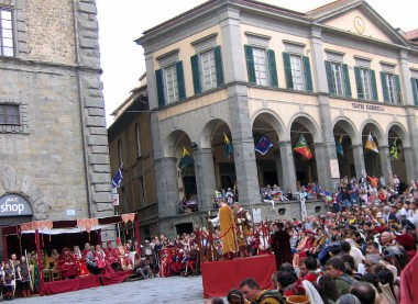 Cortona is like a pocket-sized version of Siena. The day we visited, the central piazza buzzed with the annual crossbow competition.
