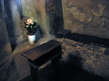 "This is the tiny cell where St. Francis lived, prayed, and slept overlooking the waterfall (""torrent"")."
