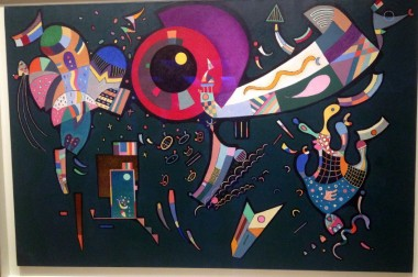 "at the Guggenheim, in addition to the James Turrell show, you can see a lovely exhibition called ""Kandinsky in Paris,"" with canvases from the artist's late period when he was clearly influenced by the likes of Klee and Miro -- here, ""Around the Circle"""
