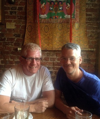 Dave Nimmons and Tim Foskett at Tsampa in the East Village, on our way to see THE DESIGNATED MOURNER at the Public Theater
