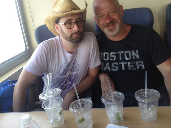 Andy and Ben on the Seastreak Ferry back from Sandy Hook (with cocktails)