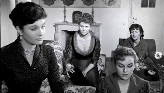 Yvonne Furneaux, Eleonora Rossi Drago, Valentina Cortese, and Anna Maria Pancani (from left to right) in a scene from Michelangelo Antonioni's LE AMICHE (1955)