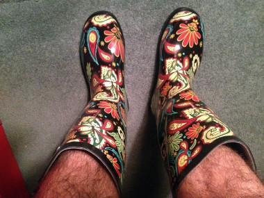 At Discount Shoe Warehouse I bought new rain boots to take to the Amazonian jungle