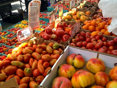 tomatoes are in high season at the farmer's market
