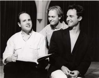 Director Kenneth Elliott, David Hyde Pierce as Himmer, and Kondoleon