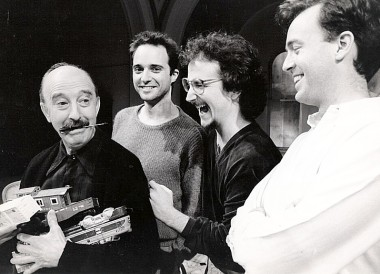 Rehearsal for the original production at the Public Theater: Edward Atienza as Jacob Blank, playwright Harry Kondoleon, director Mark-Linn Baker, and Reed Birney as Himmer