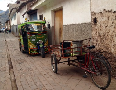 typical transportation in Peru -- custom-decorated three-wheel mototaxis