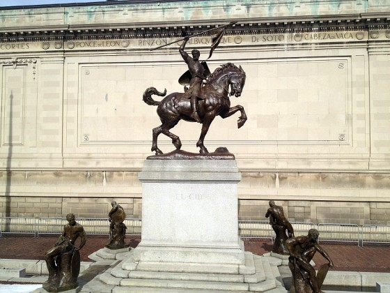 The nine statues out front, including this imposing depiction of El Cid, were created by Huntington's wife Anna Hyatt Huntington.