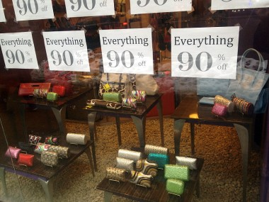 "my favorite new bogus midtown storefront sign, the sequel to ""GOING OUT OF BUSINESS -- Everything Must Go!"""