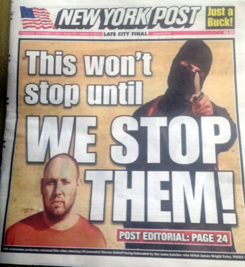 Apparently, the editorial staff of the New York Post has volunteered to go mano-a-mano with ISIS...