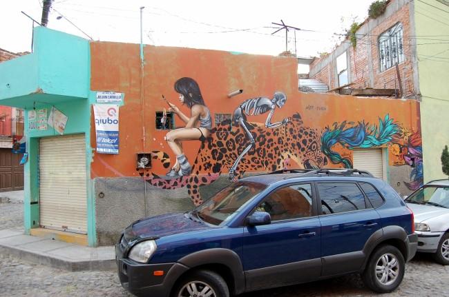 2-1 skeleton tiger mural