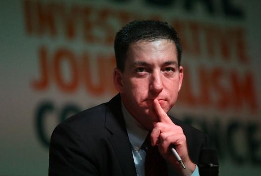 The journalist Glenn Greenwald, a columnist for the British newspaper The Guardian, talks during event in Rio de Janeiro.