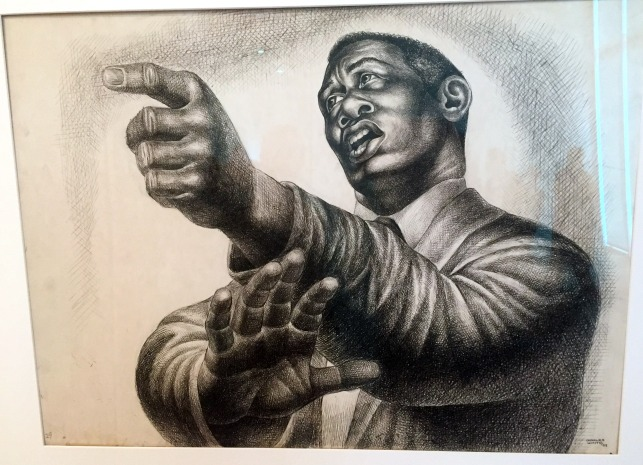 "Charles White's 1952 drawing ""Preacher"""