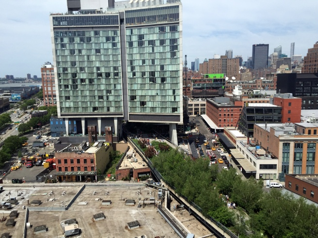 view of the High Line from one of the four outdoor terraces
