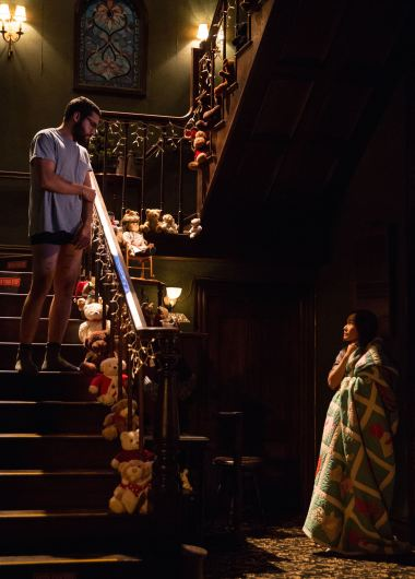 "Signature Theatre presents ""John"" A New Play by Annie Baker; Directed by Sam Gold Pictured: Christopher Abbott as Elias Schreiber-Hoffman & Hong Chau as Jenny Chung"