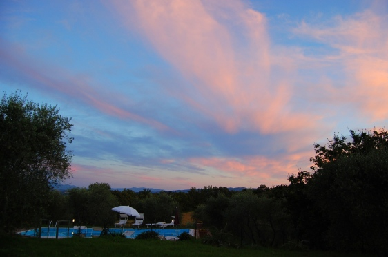6-17 sunset over tuscan pool